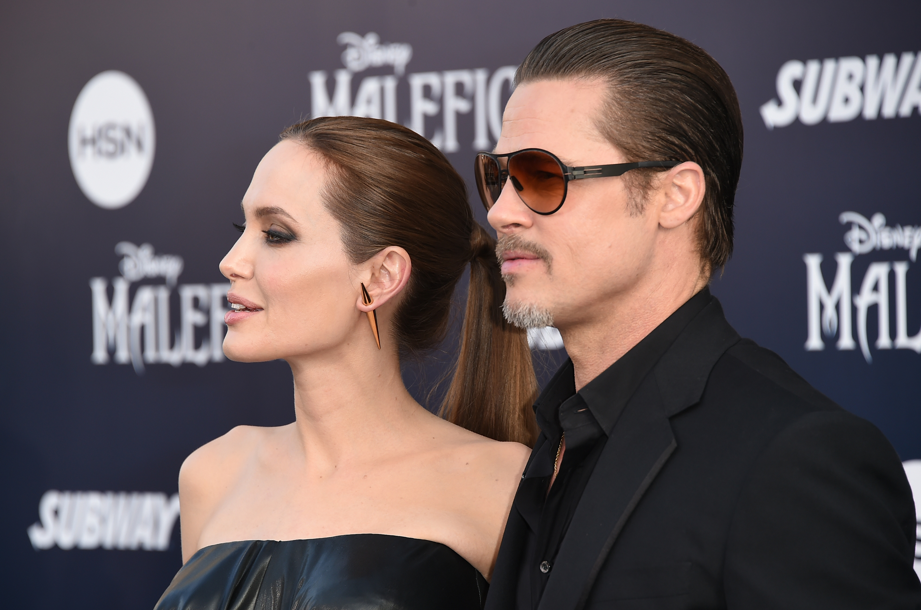 Actors Angelina Jolie and Brad Pitt attend the World Premiere of Disney's 'Maleficent' at the El Capitan Theatre on May 28, 2014 in Hollywood, California. (Photo by Jason Merritt/Getty Images)