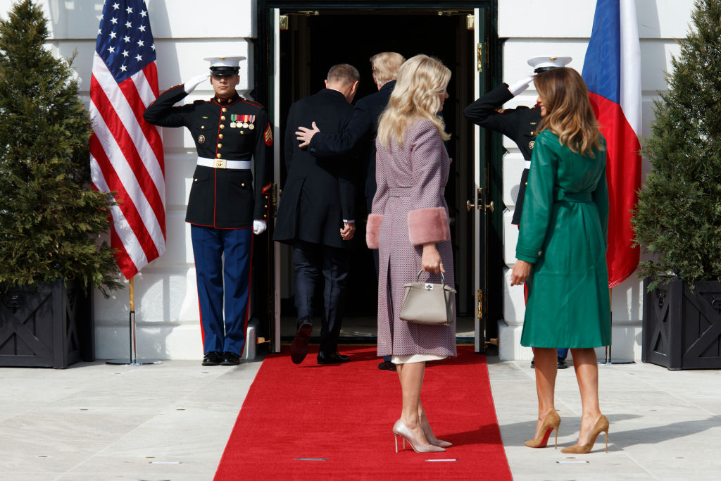 President Donald Trump and first lady Melania Trump welcome Czech Republic Prime Minister Andrej Babis and his wife, Monika Babiová at the South Portico of the White House on March 7, 2019 in Washington, DC. (Photo by Tom Brenner/Getty Images)
