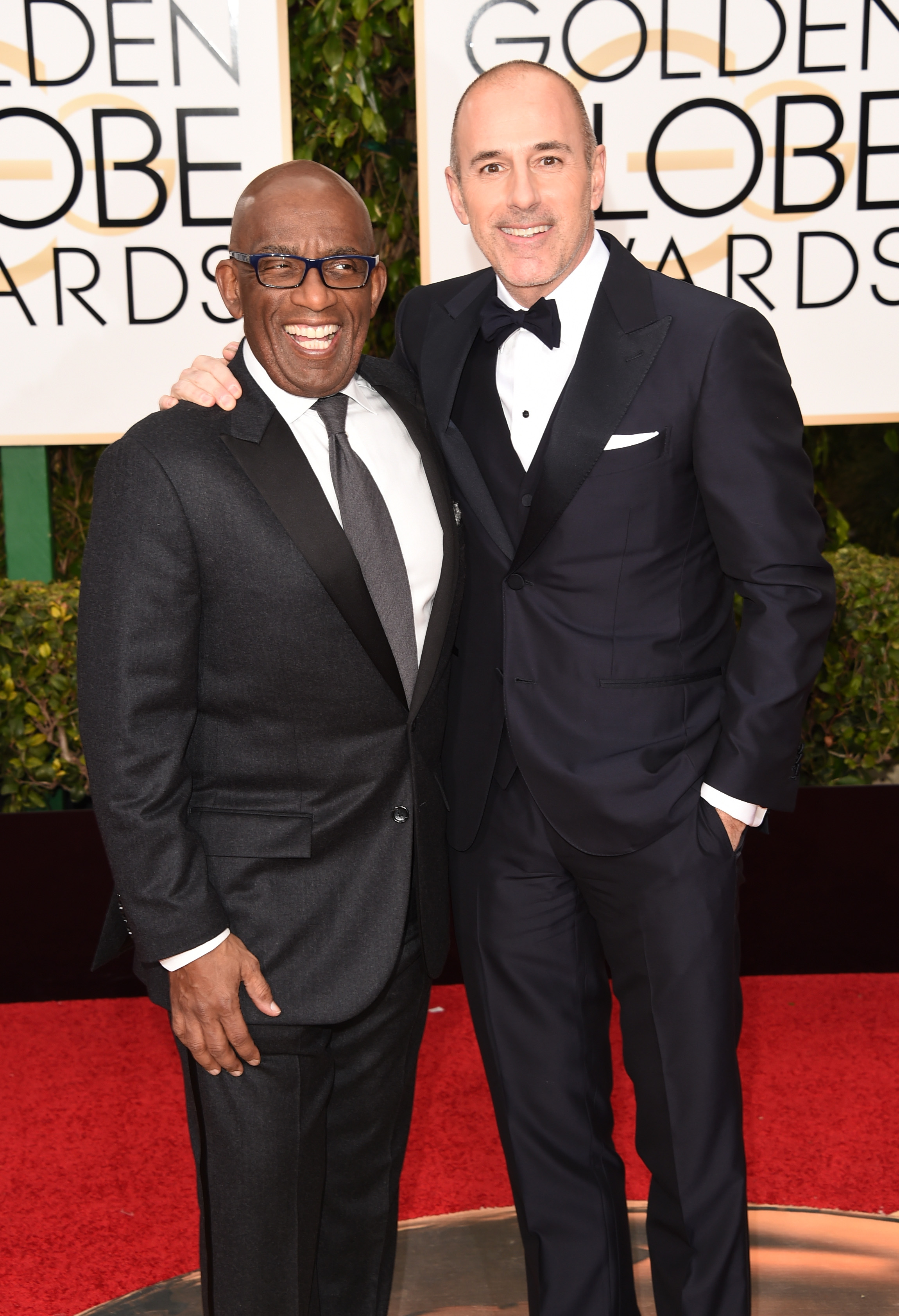 TV personalities Al Roker (L) and Matt Lauer attend the 73rd Annual Golden Globe Awards held at the Beverly Hilton Hotel on January 10, 2016 in Beverly Hills, California. (Source: Getty Images)