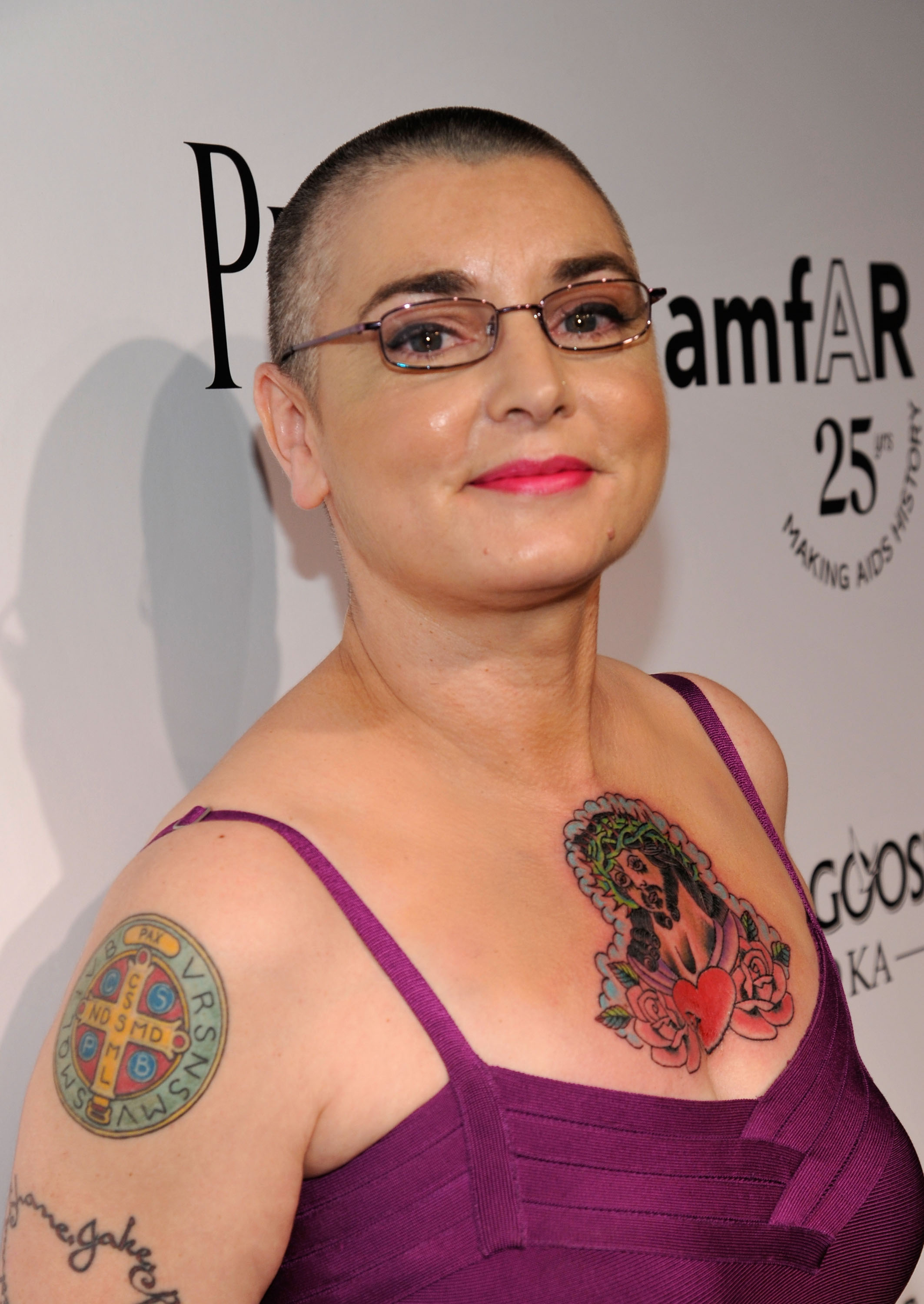 Singer Sinead O'Connor attends the The 2011 amfAR Inspiration Gala held at the Chateau Marmont on October 27, 2011 in Los Angeles, California.