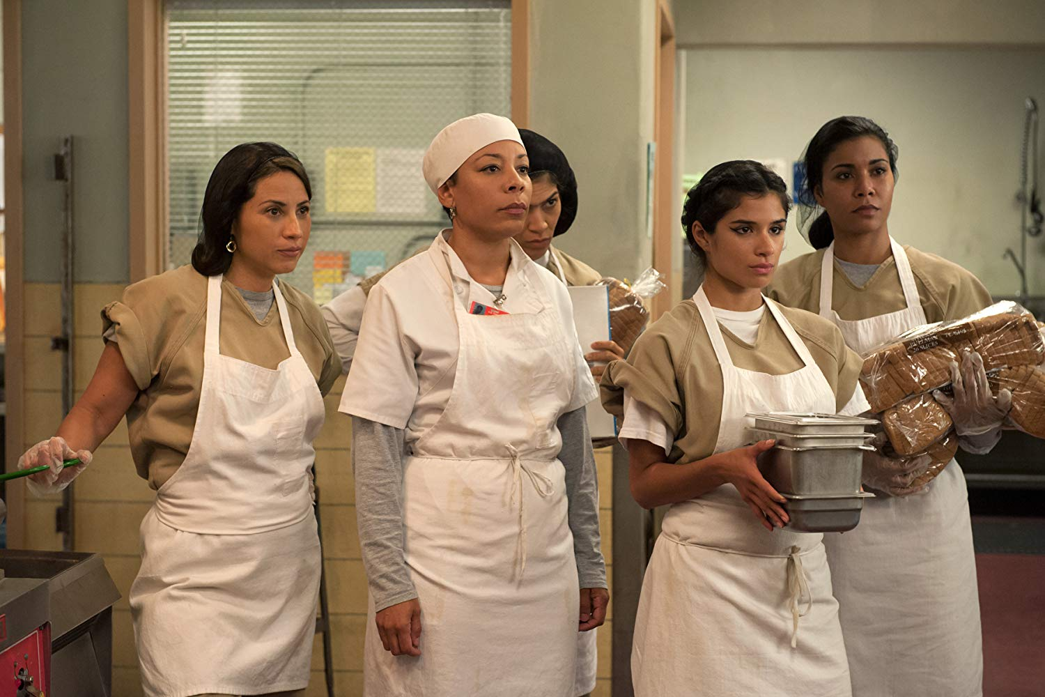 Laura Gómez, Selenis Leyva, Elizabeth Rodriguez, Jessica Pimentel, and Diane Guerrero in 'Orange Is the New Black' (2013) (Source: IMDB)