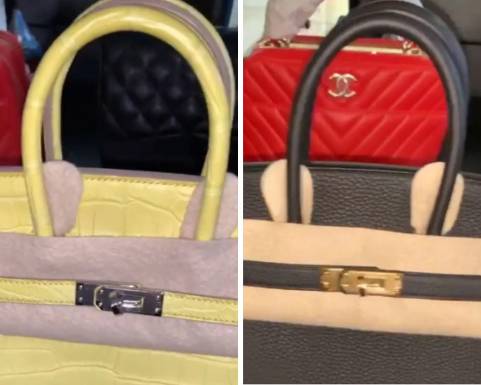 Cardi also received a black bag with tan piping, a crocodile yellow bag, a bright pink version, and a brown color-way, all from Privé Porter, a luxury shopping service that helps source new Hermès bags. (Source: Instagram)