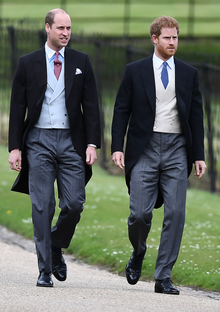 ENGLEFIELD GREEN, ENGLAND - MAY 20: Britain's Prince Harry (R) and Britain's Prince William, Duke of Cambridge attend the wedding of Pippa Middleton and James Matthews at St Mark's Church on May 20, 2017 in Englefield Green, England. (Photo by Justin Tallis - WPA Pool/Getty Images)