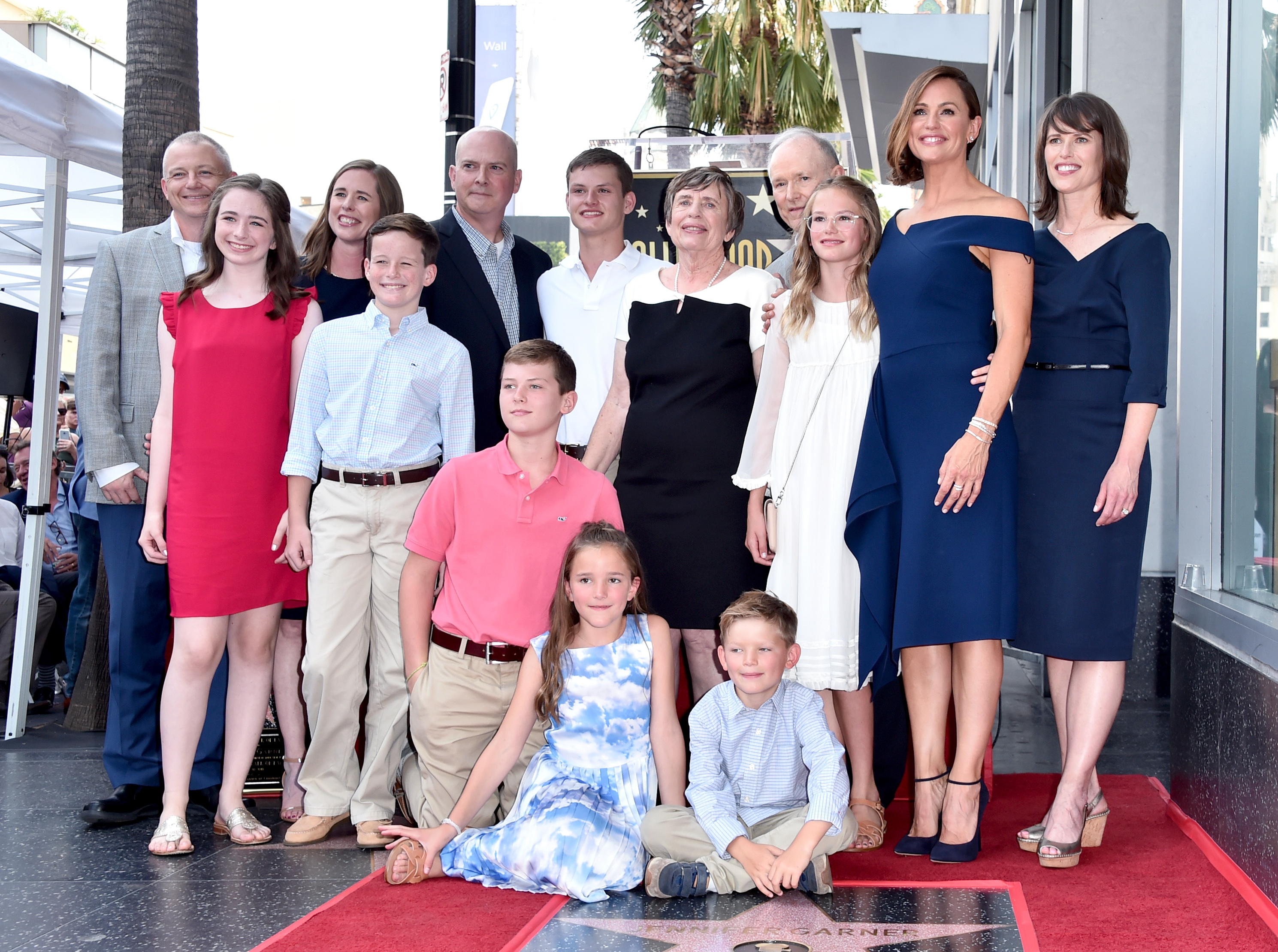 Jennifer Garner (second from R) and family attend the ceremony honoring Jennifer Garner with a star on the Hollywood Walk Of Fame on August 20, 2018 in Hollywood, California.