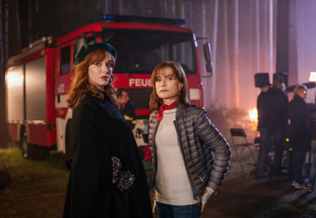 "L-R: Christina Hendricks and Isabelle Huppert in ""House of Special Purpose."""