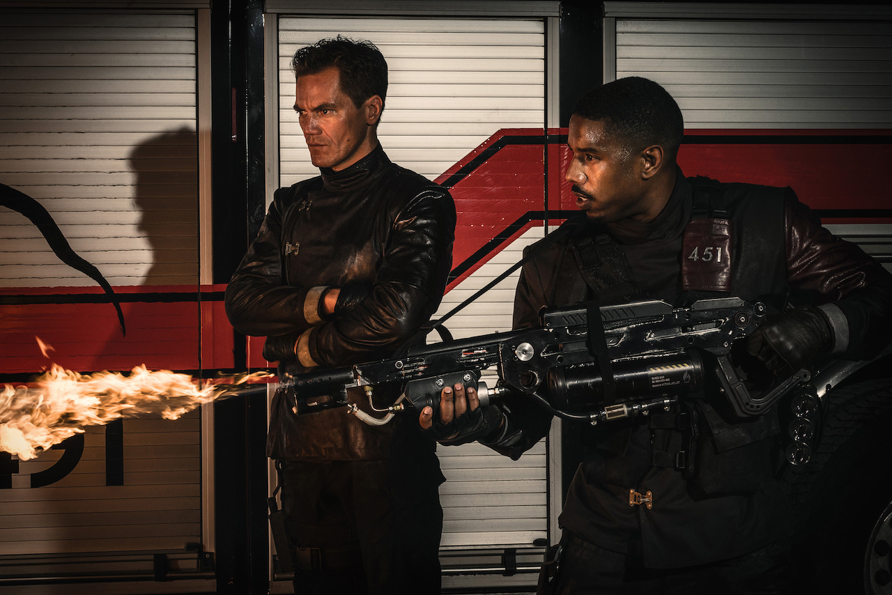 A still from HBO's 'Fahrenheit 451' shows the serpent-sounding flamethrowers which Jacob Ribicoff talks about. (Image Source: HBO)