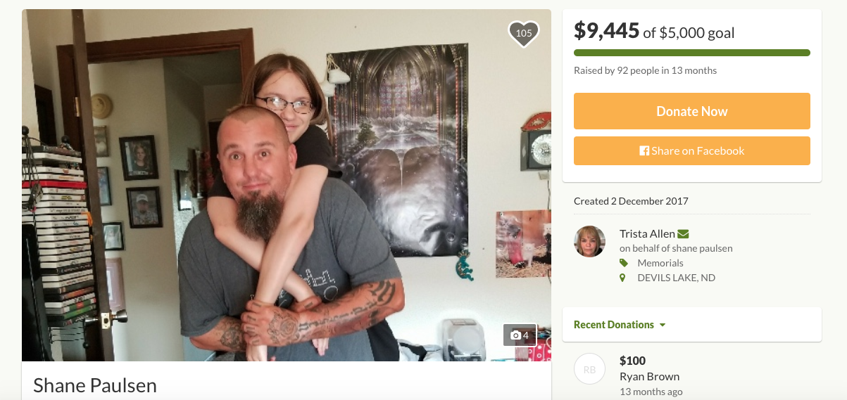 A GoFundMe page created by Shane Paulsen for his daughter's funeral arrangements. (GoFundMe)