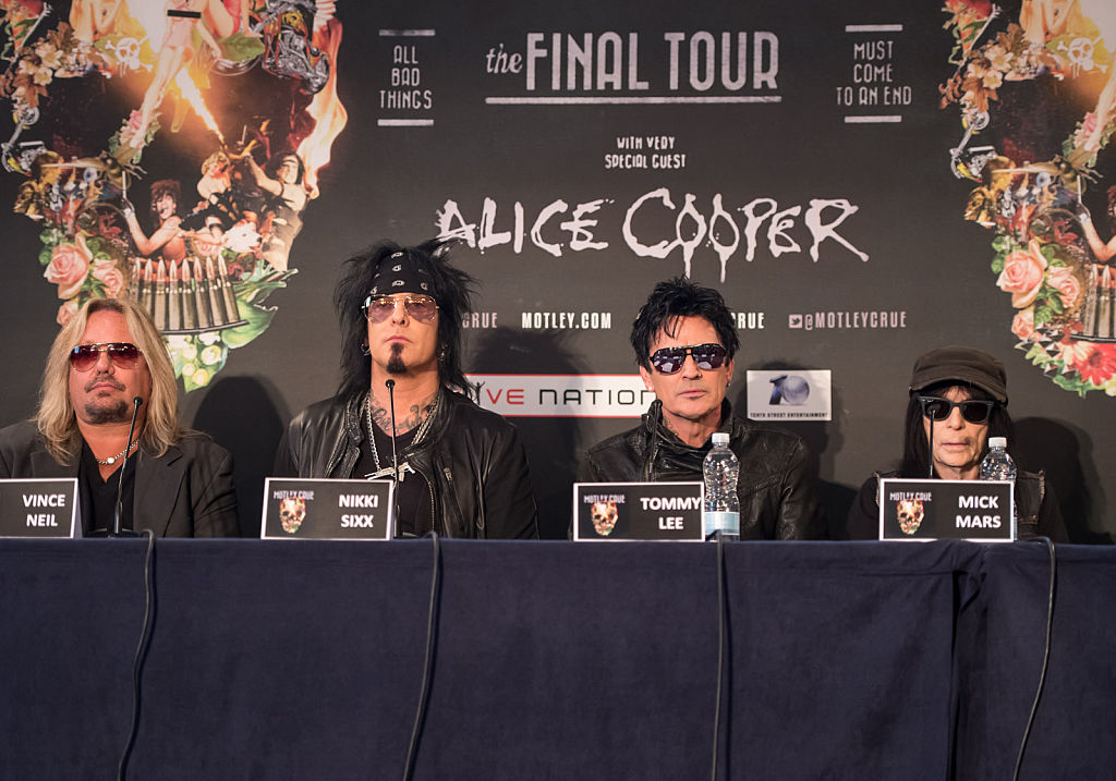 Vince Neil, Nikki Sixx, Tommy Lee and Mick Mars of Mötley Crüe attend the last ever European press conference for Motley Crue at Law Society on June 9, 2015, in London, England. (Source: Ian Gavan/Getty Images)