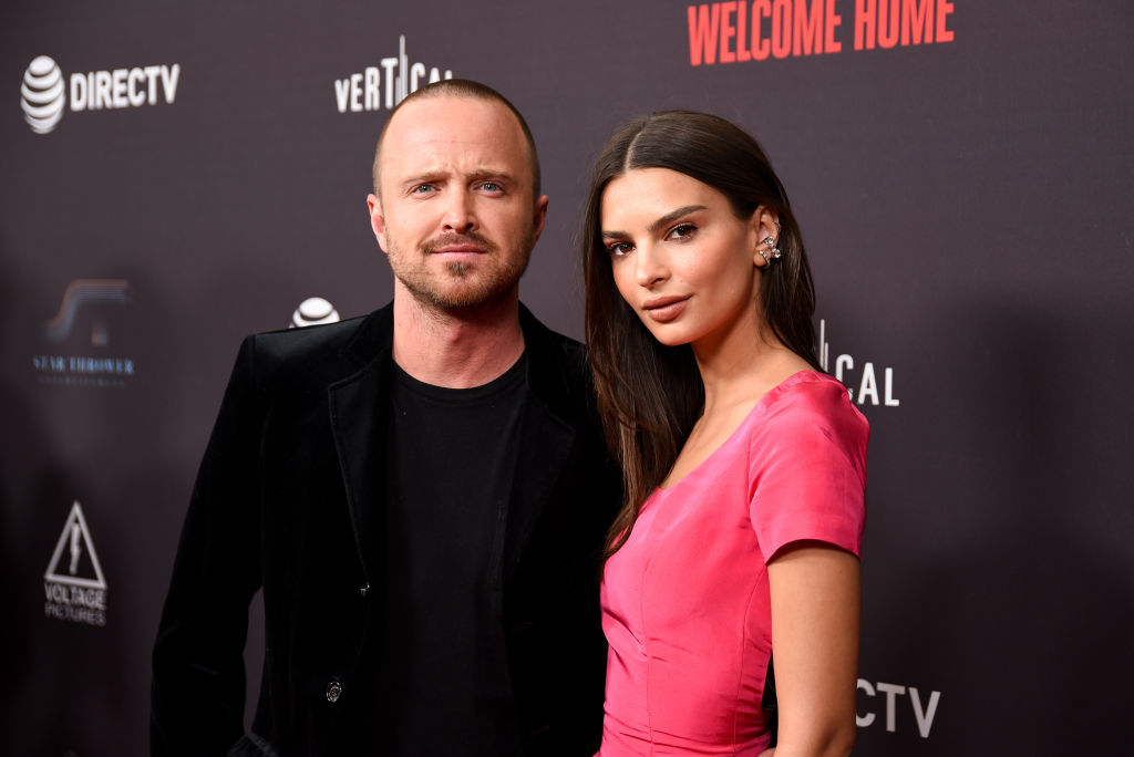 Aaron Paul and Emily Ratajkowski attend 'Welcome Home' Premiere at The London West Hollywood on November 04, 2018 in West Hollywood, California. (Photo by Presley Ann/Getty Images)