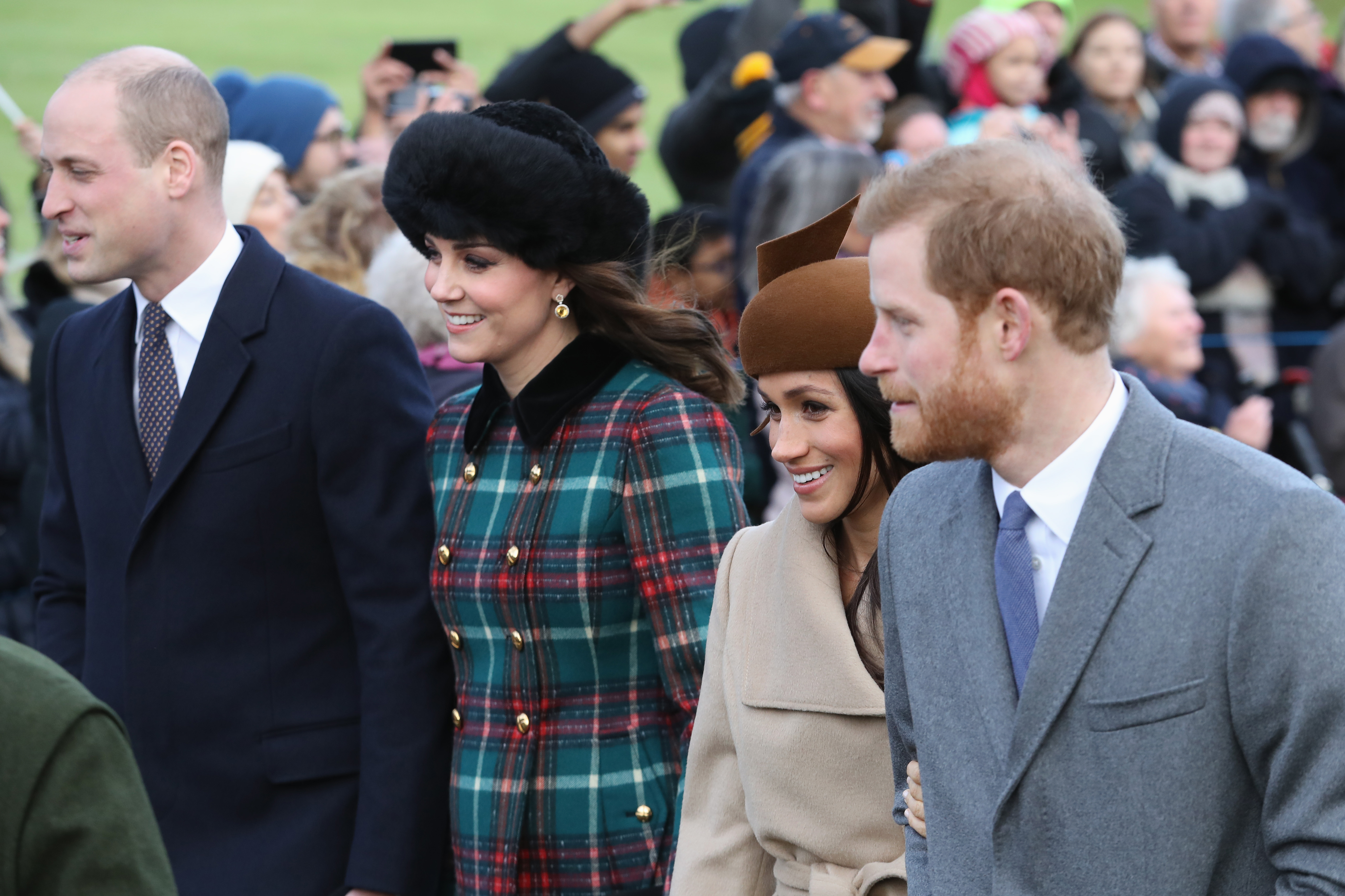 (L-R) Prince William, Duke of Cambridge, Catherine, Duchess of Cambridge, Meghan Markle and Prince Harry attend Christmas Day Church service at Church of St Mary Magdalene on December 25, 2017 in King's Lynn, England.