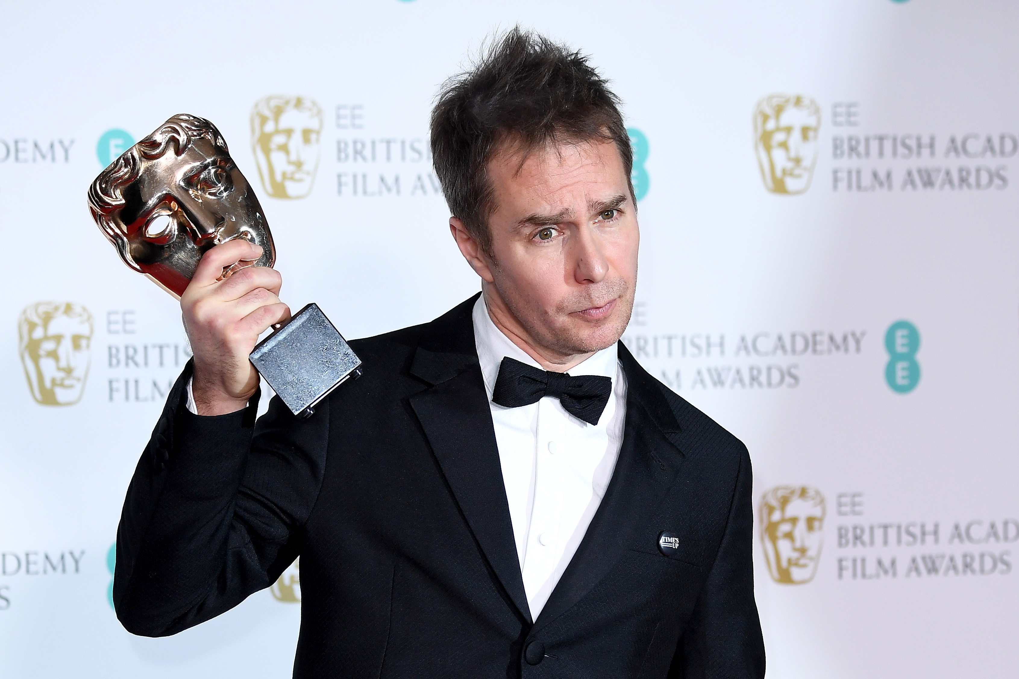 Sam Rockwell, winner of the Best Supporting Actor award for the movie 'Three Billboards Outside Ebbing, Missouri' poses in the press room during the EE British Academy Film Awards (BAFTA) held at Royal Albert Hall on February 18, 2018 in London, England (Getty Images)