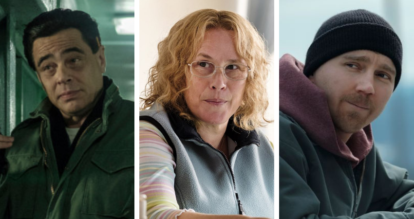 'Escape at Dannemora': Benicio del Toro as Matt (L), Patricia Arquette as Tilly (M), and Paul Dano as David Sweat (R)