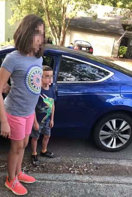 The children tell the cop that Lewis was babysitting them (Source: Facebook)