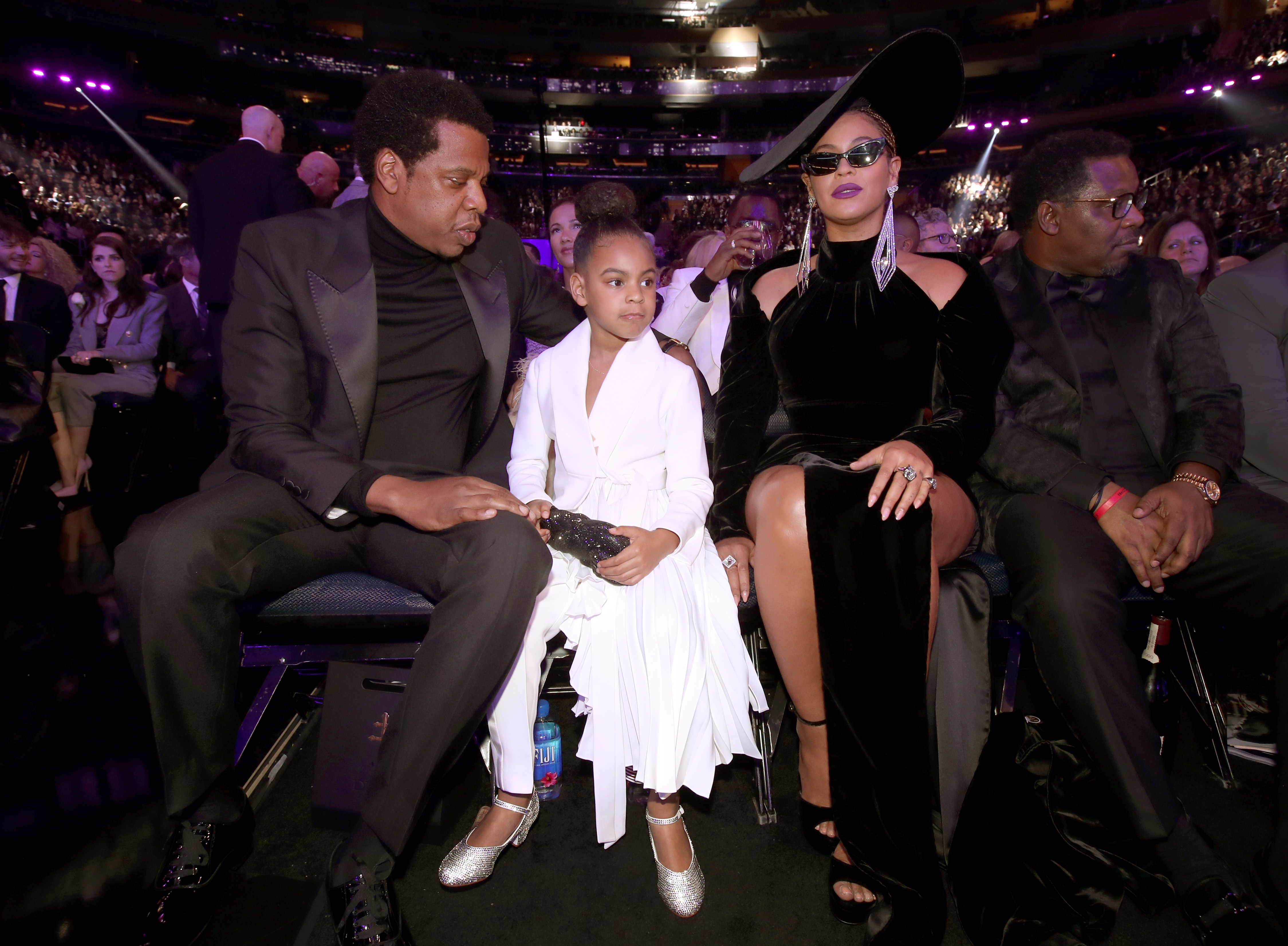 (L-R) Jay-Z, Blue Ivy and Beyonce Knowles attend the 60th Annual GRAMMY Awards at Madison Square Garden on January 28, 2018 in New York City. (Photo by Christopher Polk/Getty Images for NARAS)