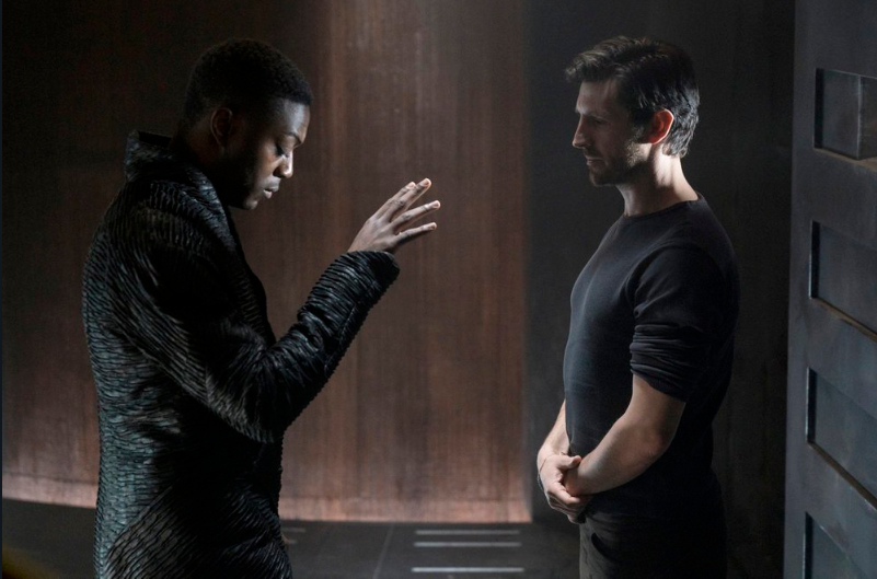 David Ajala (L) and Eoin Macken (R) in a scene from Nightflyers. Source: SyFy