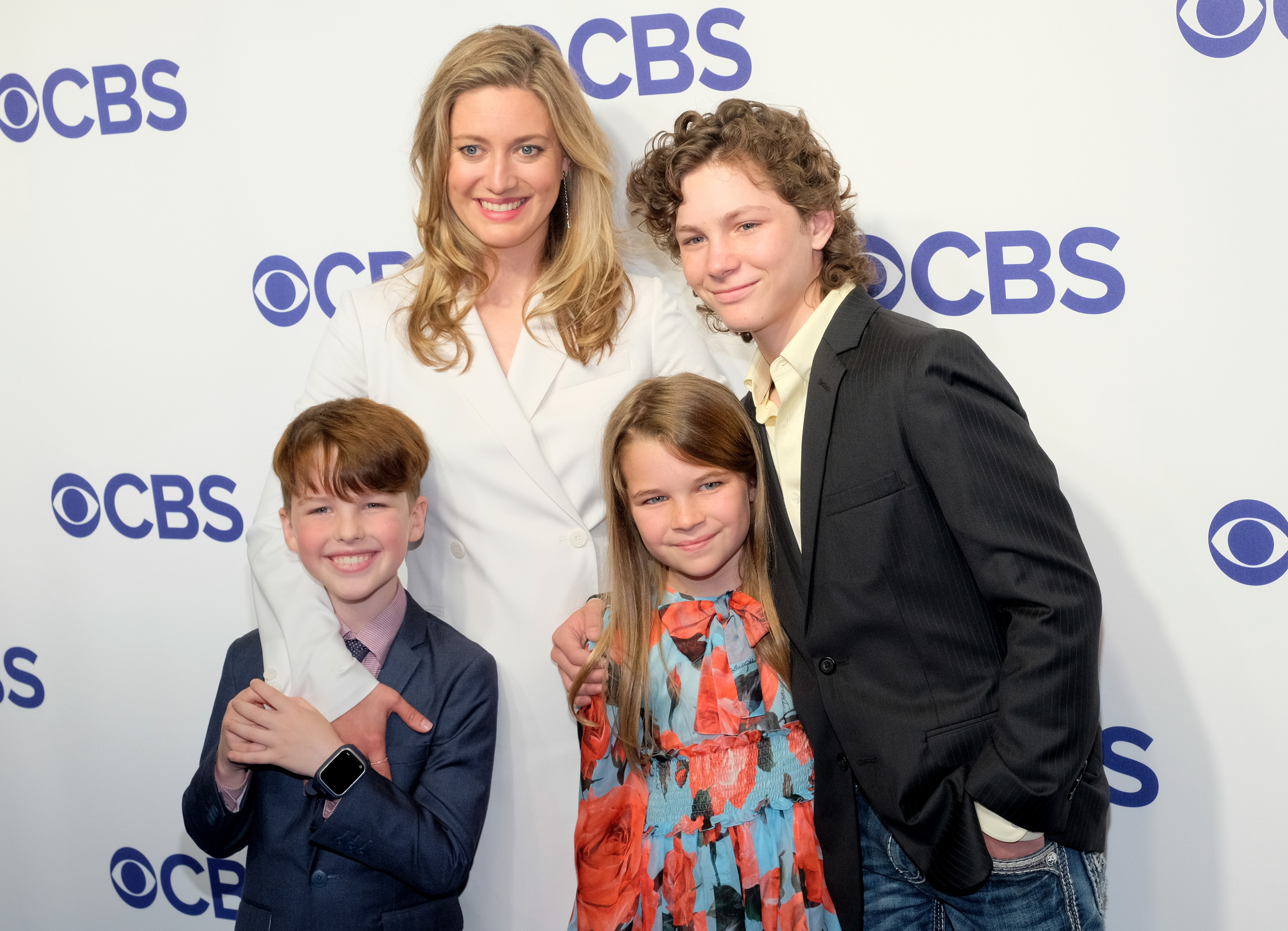 (L-R) Actors Iain Armitage, Zoe Perry, Raegan Revord and Montana Jordan attend the 2018 CBS Upfront at The Plaza Hotel on May 16, 2018 in New York City.