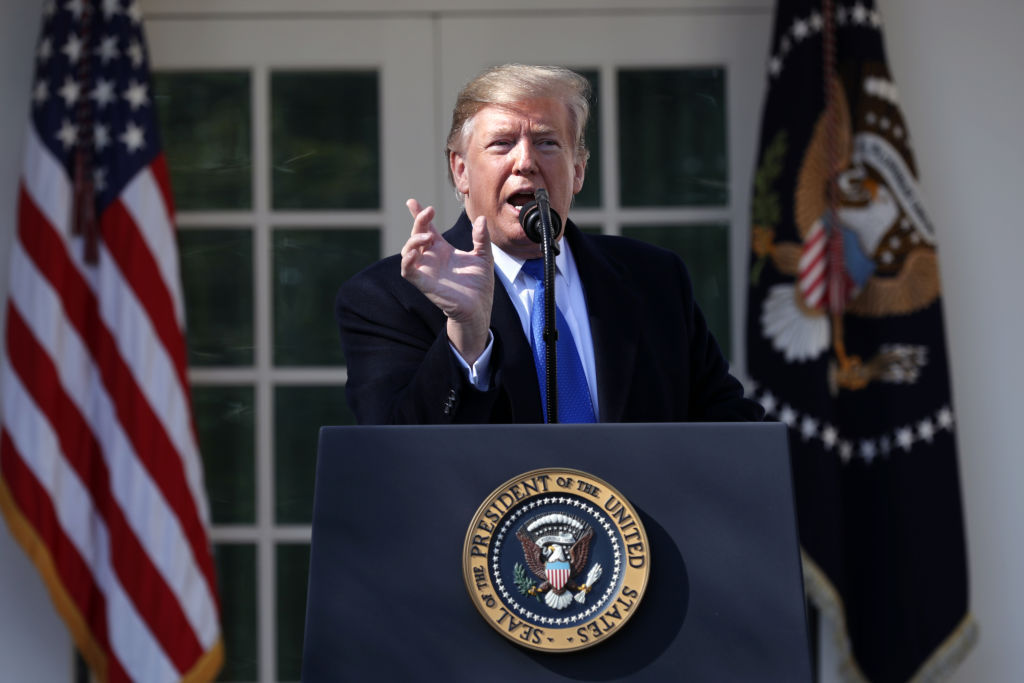 U.S. President Donald Trump speaks on border security during a Rose Garden event at the White House on February 15, 2019, in Washington, DC. (Photo by Chip Somodevilla/Getty Images)