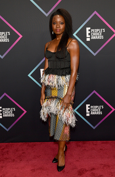 A big night for Black Panther, for sure but Danai, unfortunately, missed the mark with the fringed skirt. (Photo by Matt Winkelmeyer/Getty Images)