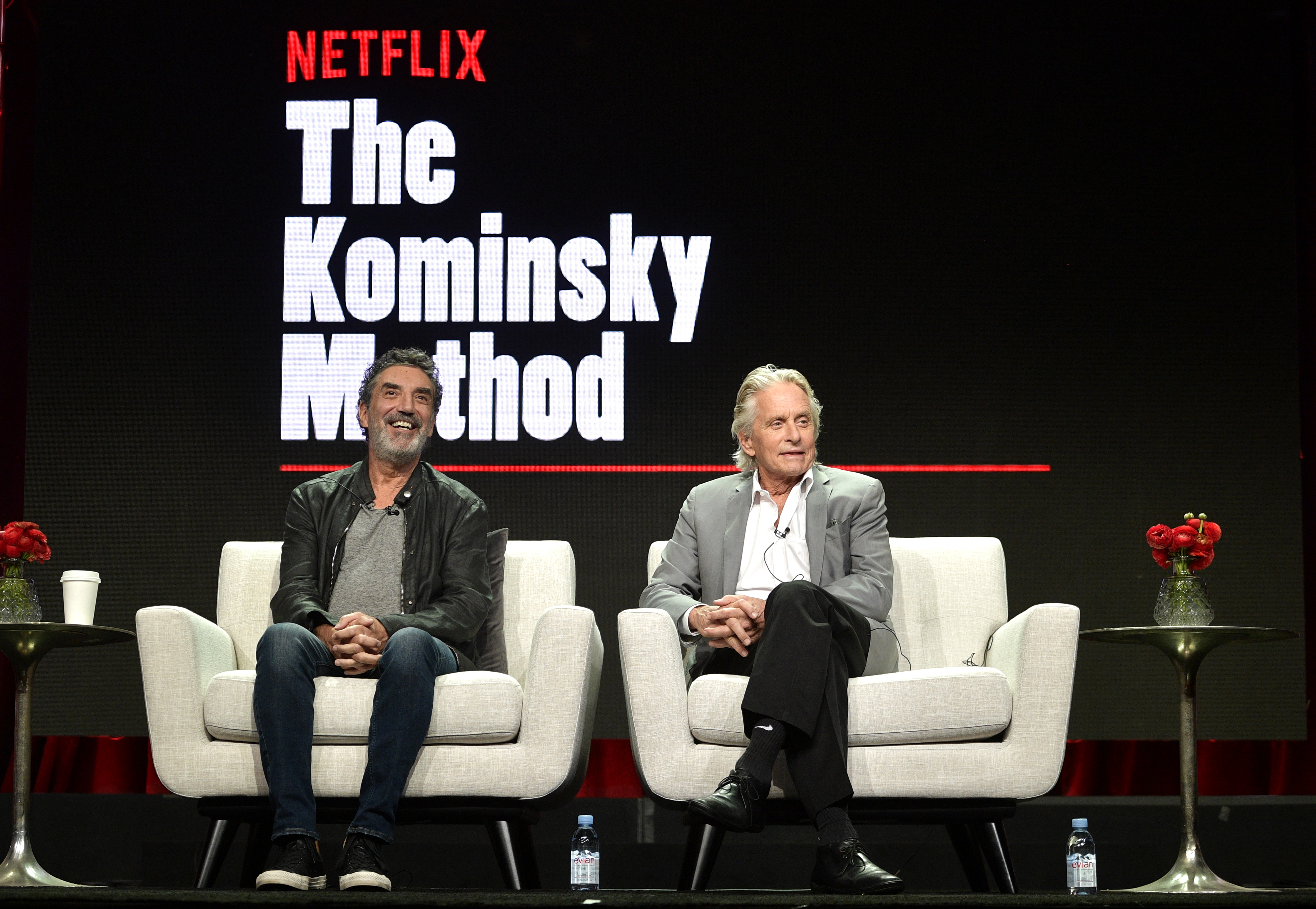 Chuck Lorre and Michael Douglas of 'The Kominsky Method' speak onstage during Netflix TCA 2018 at The Beverly Hilton Hotel on July 29, 2018 in Beverly Hills, California.