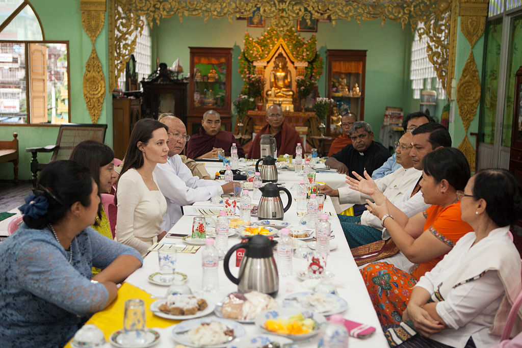 Angelina Jolie visits the Phayar Pyu Monastery on July 31, 2015, in Yangon, Myanmar and meets senior Buddhist, Muslim, Catholic and Hindu leaders for a dialogue on the role of faith leaders in Burma and their activities to support the peace process and address tensions within communities. (Getty Images)