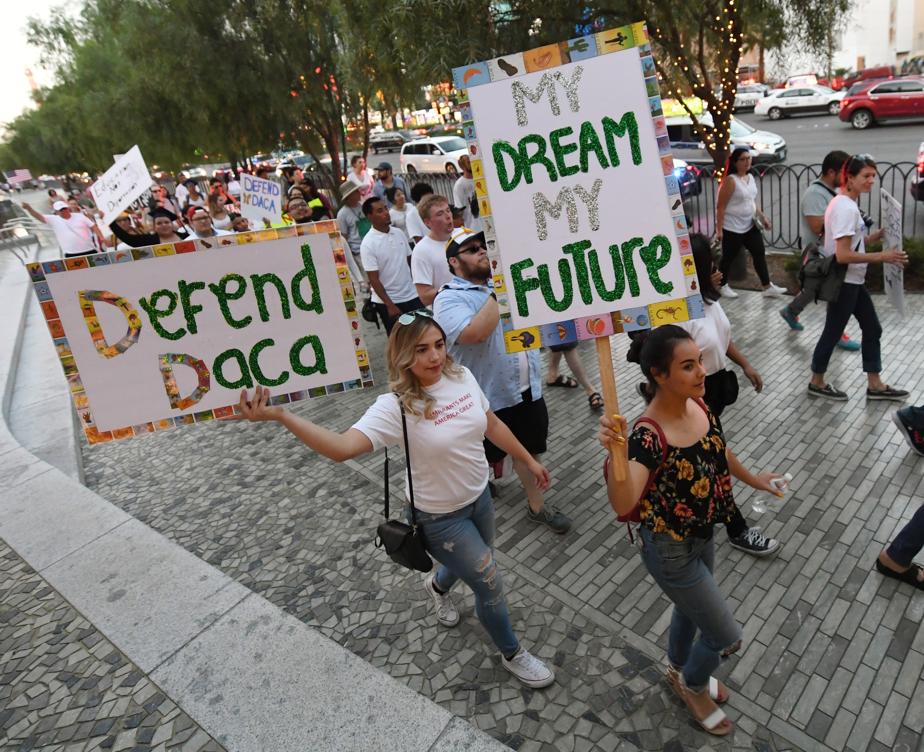 Immigrants and supporters march on the Las Vegas Strip during a 'We Rise for the Dream' rally to oppose U.S. President Donald Trump's order to end DACA on September 10, 2017, in Las Vegas, Nevada. The Obama-era Deferred Action for Childhood Arrivals program protects young immigrants who grew up in the U.S. after arriving with their undocumented parents from deportation to a foreign country. Trump's executive order removes protection for about 800,000 current 'dreamers,' about 13,000 of whom live in Nevada. Congress has the option to replace the policy with legislation before DACA expires on March 5, 2018 (Getty Images)