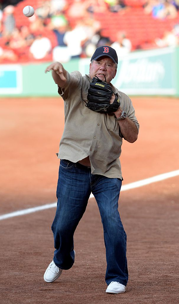 William Shatner practices the first pitch throw out prior to the game between the Boston Red Sox and the Arizona Diamondbacks at Fenway Park on August 12, 2016, in Boston, Massachusetts. (Getty Images)