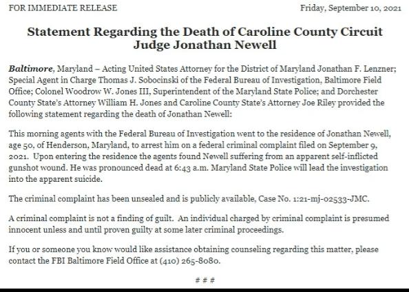 Who is Jonathan Newell? ( Maryland Judge Kills Himself