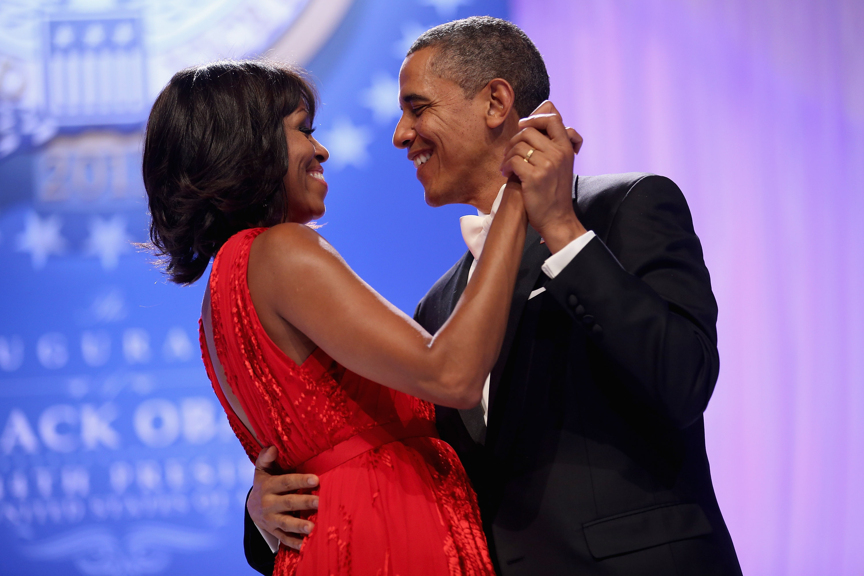 U.S. President Barack Obama and First Lady Michelle Obama dance together during the Comander-in-Chief's Inaugural Ball at the Walter Washington Convention Center January 21, 2013, in Washington, DC. (Getty Images)