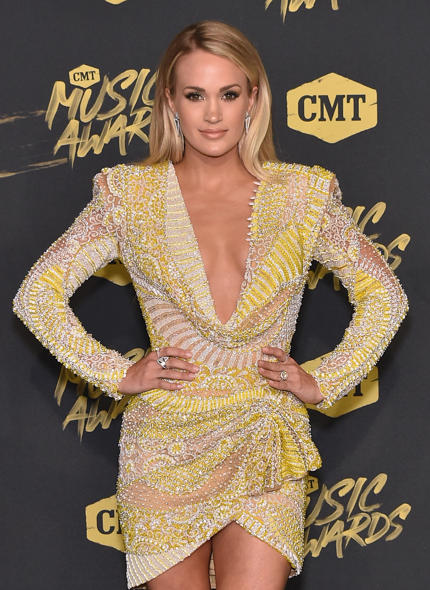Carrie Underwood attends the 2018 CMT Music Awards at Bridgestone Arena on June 6, 2018 in Nashville, Tennessee.