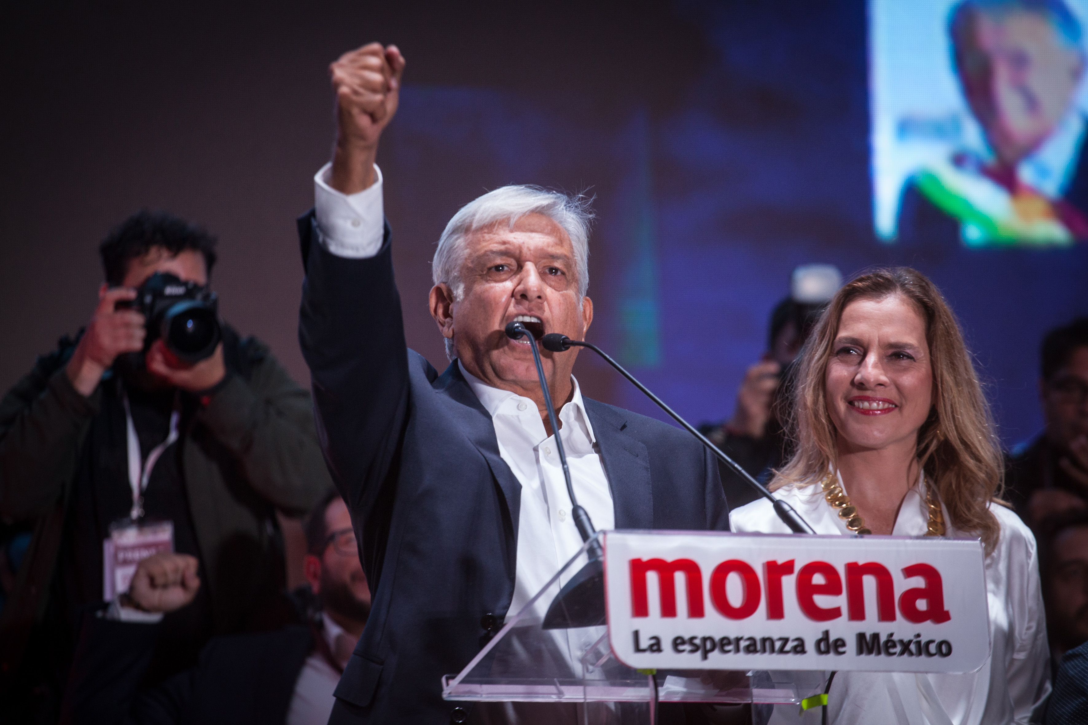 President elect, Andres Manuel Lopez Obrador speaks during the celebration event, at the end of the Mexico 2018 Presidential Election on July 1, 2018 in Mexico City, Mexico.