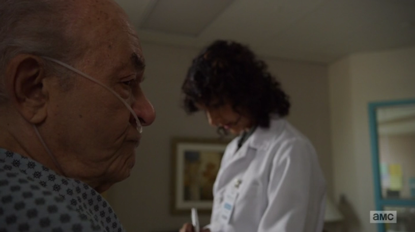 Hector knocks off a water cup on purpose to stare at the nurse (Source: AMC)