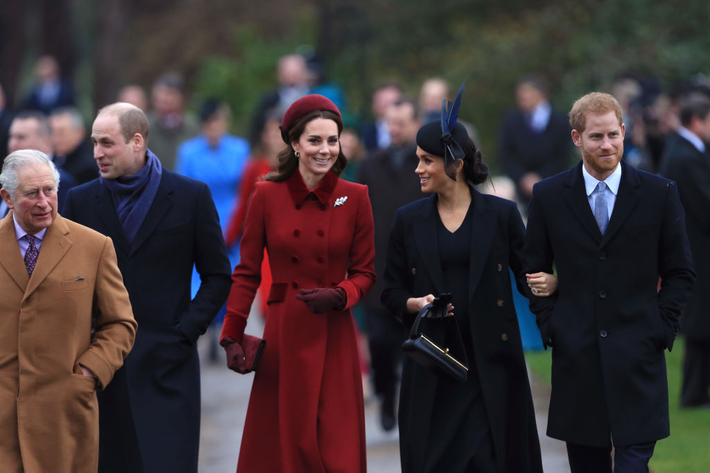 on Christmas, both Meghan and Kate put their best foot forward and were spotted smiling and chatting throughout their walk to the church service at Sandringham with the Queen and other royal family members in Norfolk. (Source: Getty Images)