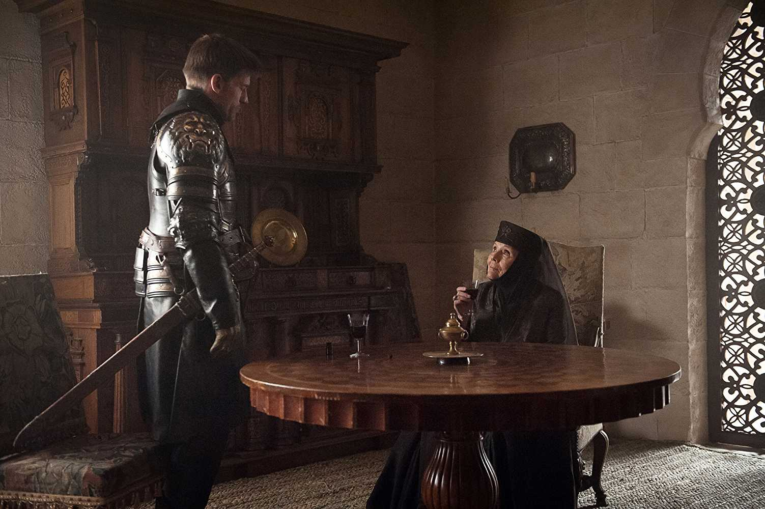 Nikolaj Coster-Waldau (Jaime Lannister) and Diana Rigg (Olenna Tyrell) and in 'Game of Thrones'. (Source: IMDB)