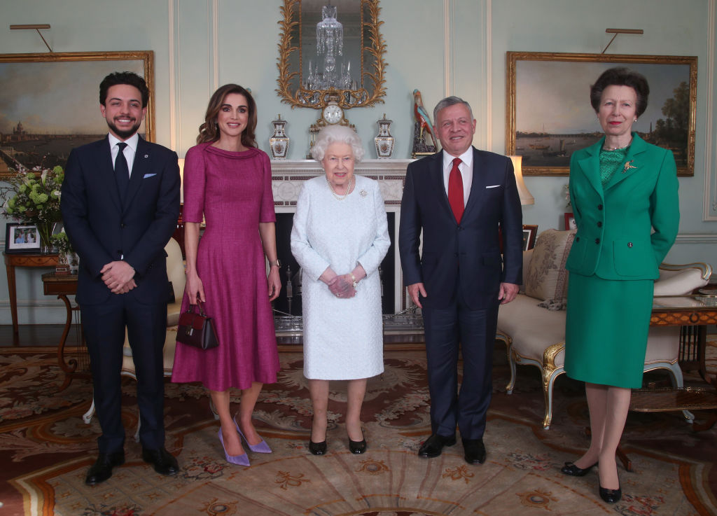 Queen Elizabeth II with (L-R) Crown Prince Hussein of Jordan, Queen Rania of Jordan, King Abdullah II of Jordan and Princess Anne, Princess Royal during a private audience at Buckingham Palace on February 28, 2019 in London, England. (Photo by Yui Mok - WPA Pool/Getty Images)