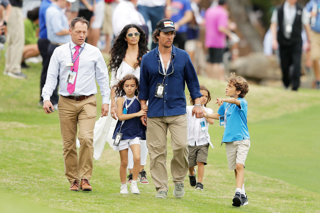 Actors Matthew McConaughey, Camila Alves and their children Levi, Vida and Livingston attend the final round of the World Golf Championships-Dell Match Play at Austin Country Club on March 25, 2018 in Austin, Texas. (Photo by Richard Heathcote/Getty Images)