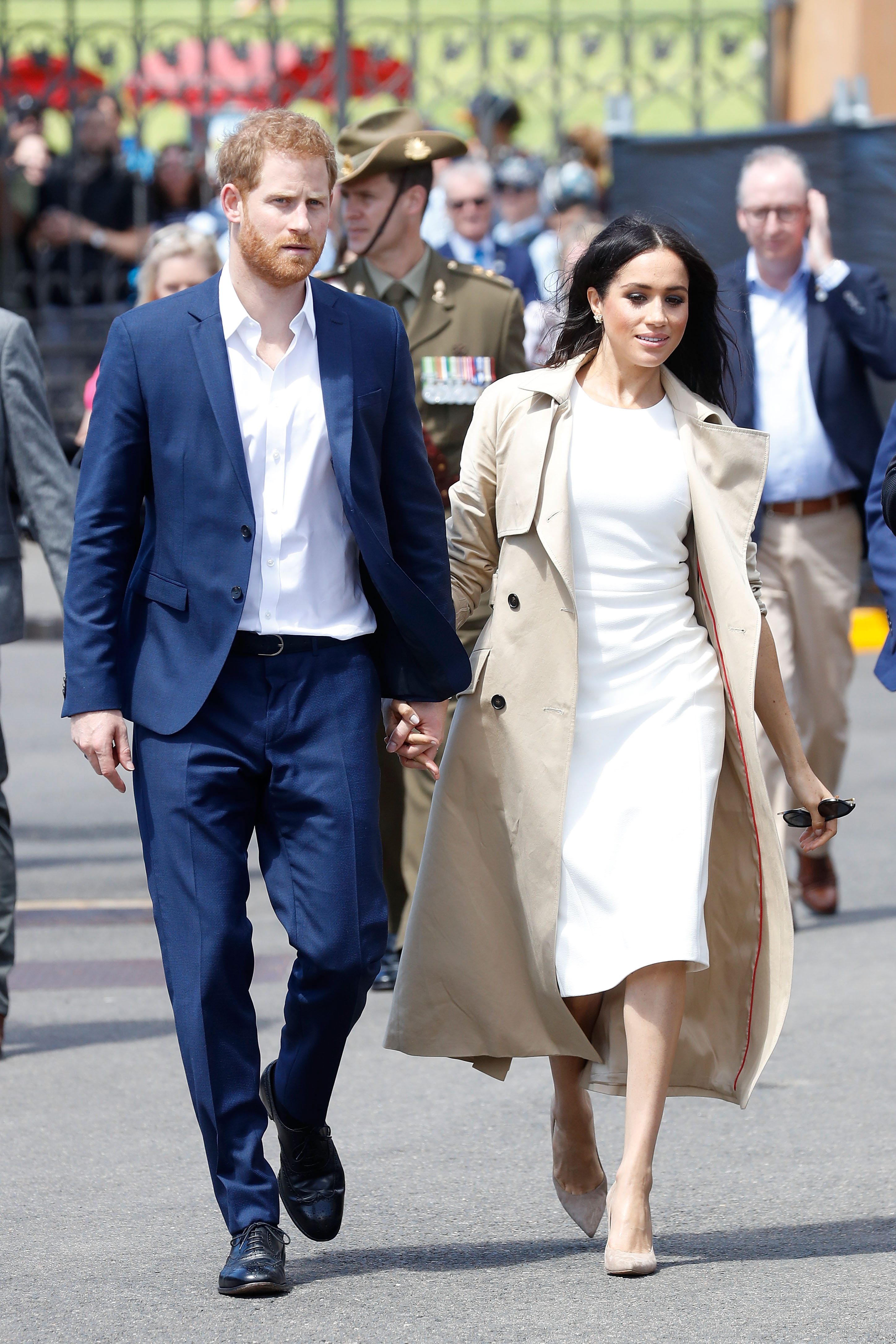 The announcement of Meghan's pregnany came after months of speculation, which went into overdrive on Friday when she wore a loose-fitting coat to Princess Eugenie's wedding on Friday (Getty Images)