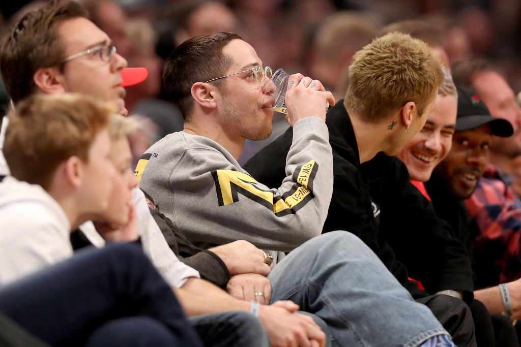 Actor Pete Davidson watches the Denver Nuggets play the Charlotte Hornets in the first quarter at the Pepsi Center on January 5, 2019 in Denver, Colorado. (Photo by Matthew Stockman/Getty Images)