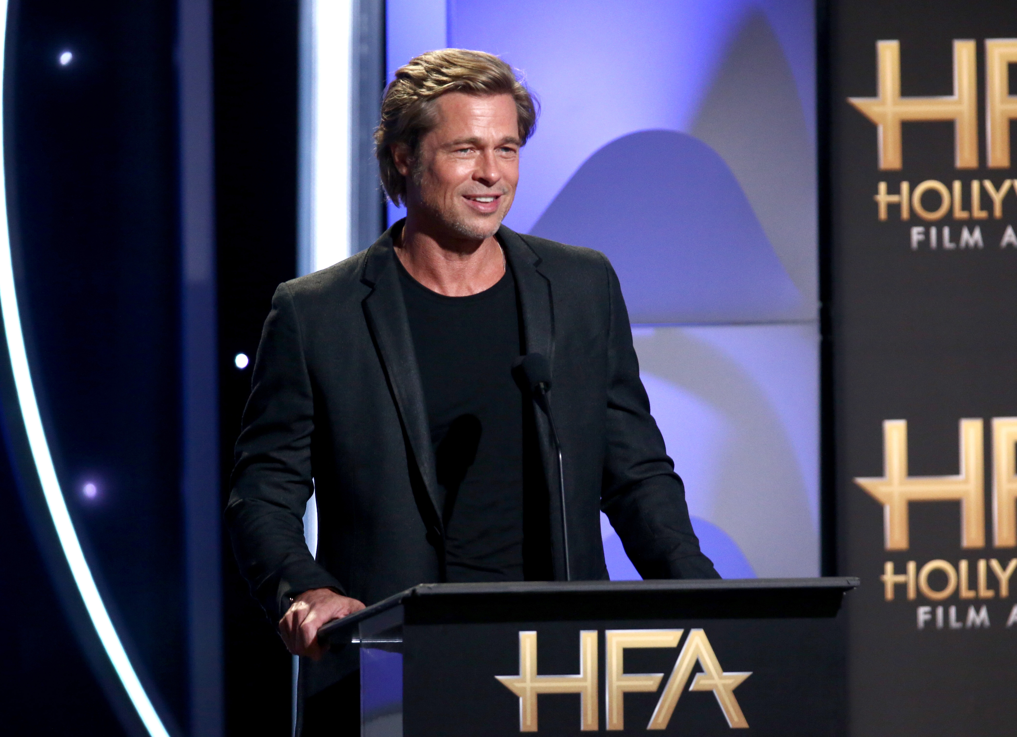 Brad Pitt speaks onstage during the 22nd Annual Hollywood Film Awards at The Beverly Hilton Hotel on November 4, 2018 in Beverly Hills, California. Source: Getty
