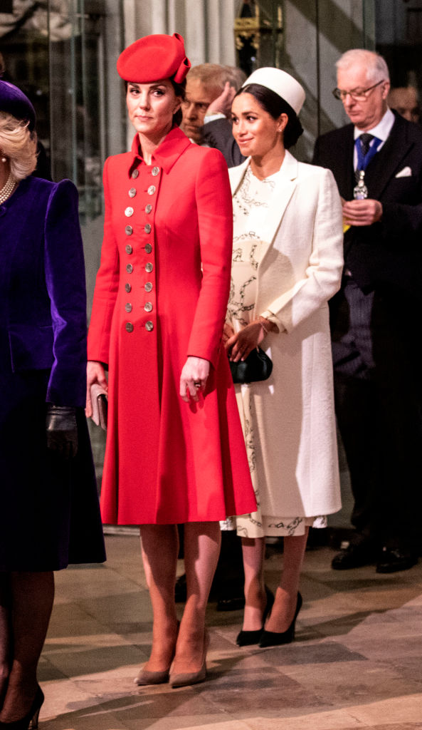 Catherine, The Duchess of Cambridge stands with Meghan, Duchess of Sussex at Westminster Abbey for a Commonwealth Day service on March 11, 2019 (Source: Getty Images)
