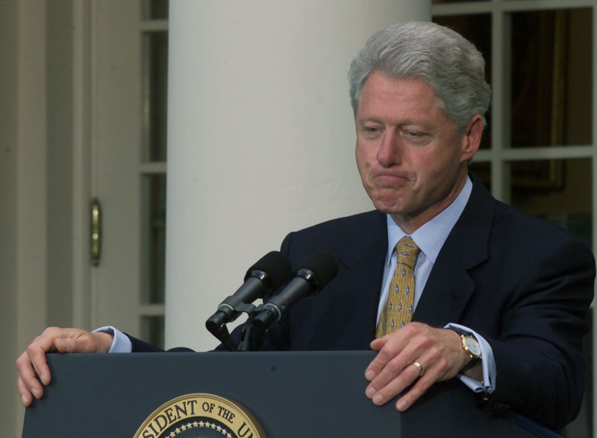 U.S. President Bill Clinton speaks in the Rose Garden, May 24, 2000 in Washington, D.C. after the China trade vote in Congress. Clinton expressed his satisfaction that the House of Representatives voted to create permanent normal trade relations with China.