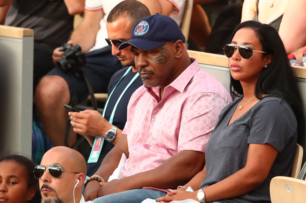 Former heavyweight boxer, Mike Tyson watches on during the ladies singles third round match between Serena Williams and Julia Georges of Germany on June 2, 2018 in Paris, France. (Photo by Clive Brunskill/Getty Images)