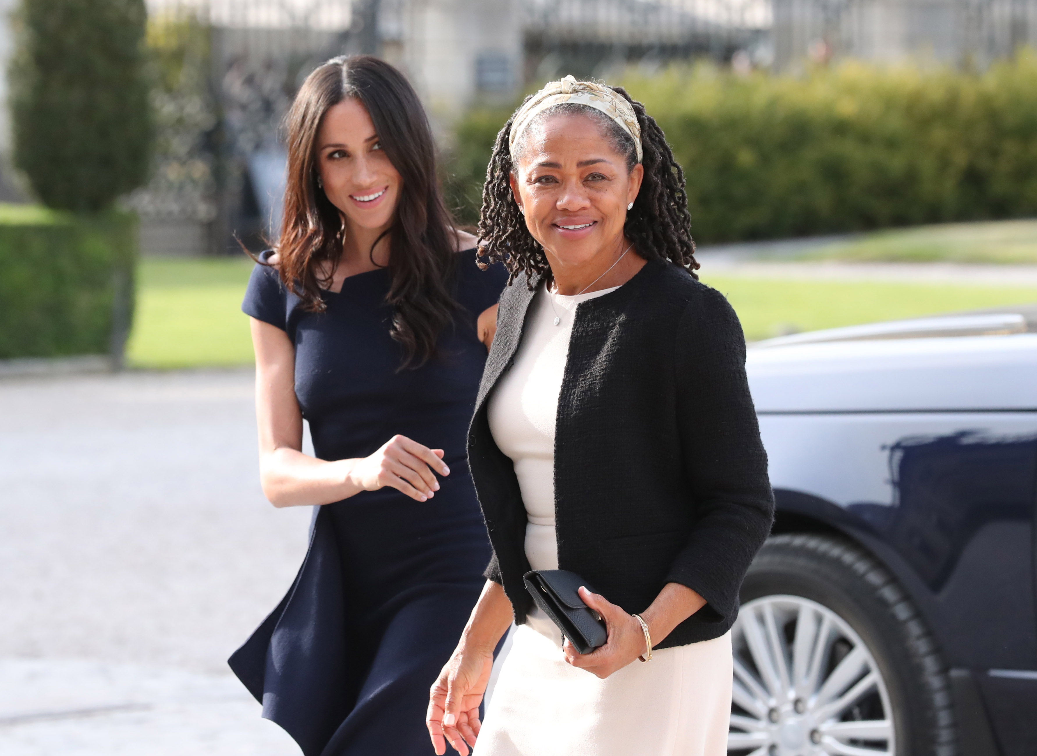 Meghan Markle and her mother, Doria Ragland, arrive at Cliveden House Hotel on the National Trust's Cliveden Estate to spend the night before her wedding to Prince Harry on May 18, 2018, in Berkshire, England. (Getty Images)