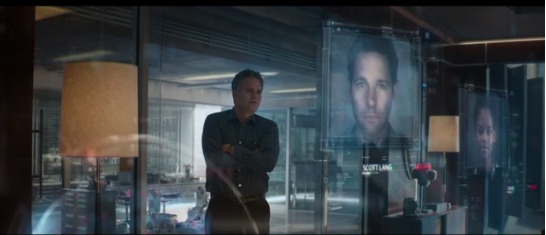Dr Banner stares at photos of Scott Land and Shuri (Youtube screenshot)