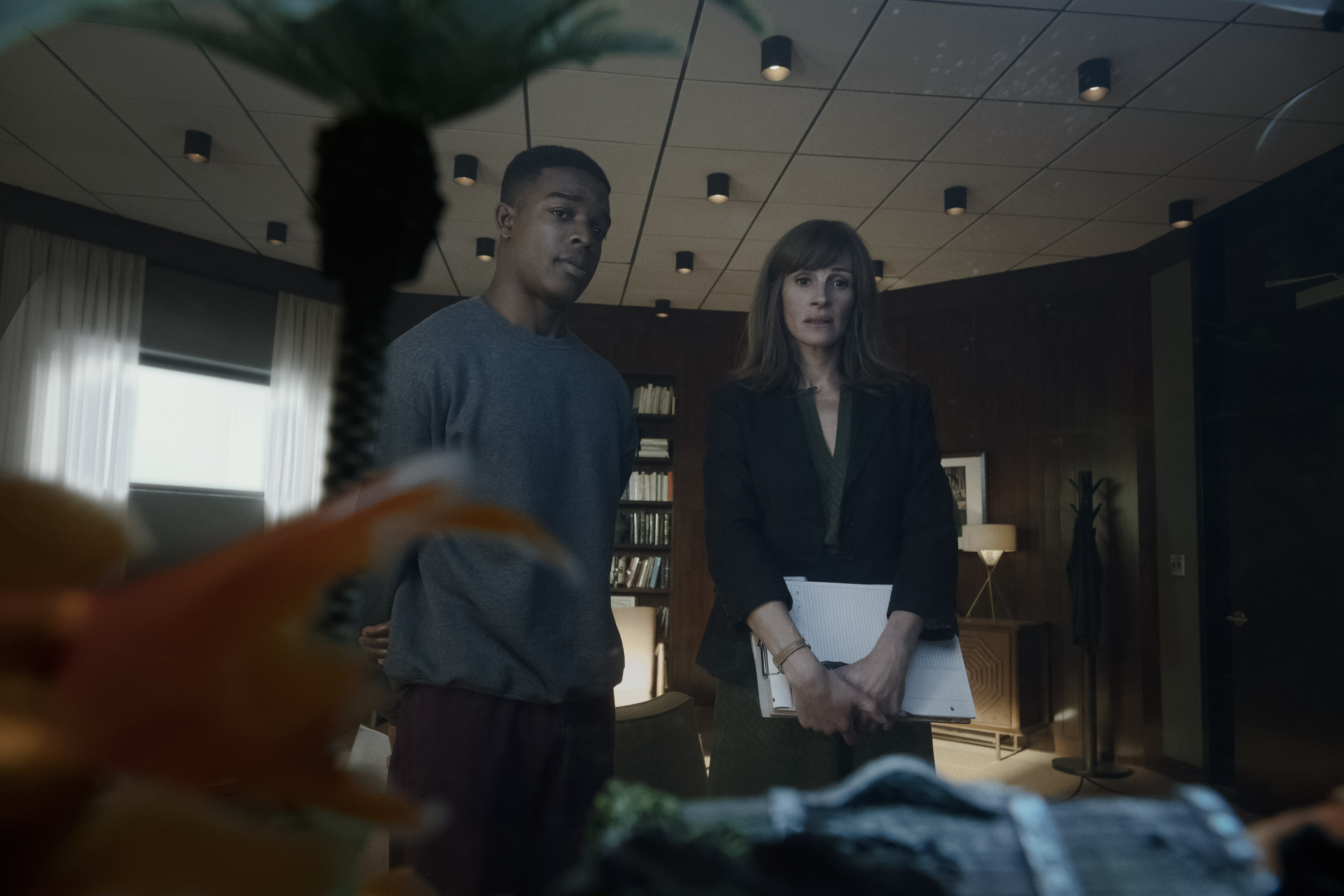 Stephan James as Walter Cruz and Julia Roberts as Heidi Bergman in 'Homecoming' (Picture credit: Jessica Brooks)