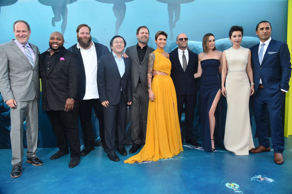 Jon Turtletaub, Page Kennedy, Olafur Darri Olafsson, Masi Oka, Rainn Wilson, Ruby Rose, Jason Statham, Jessica McNamee, Li Bingbing and Cliff Curtis attend the premiere of Warner Bros. Pictures And Gravity Pictures' 'The Meg' at TCL Chinese Theatre IMAX on August 6, 2018 in Hollywood, California. (Photo by Alberto E. Rodriguez/Getty Images)