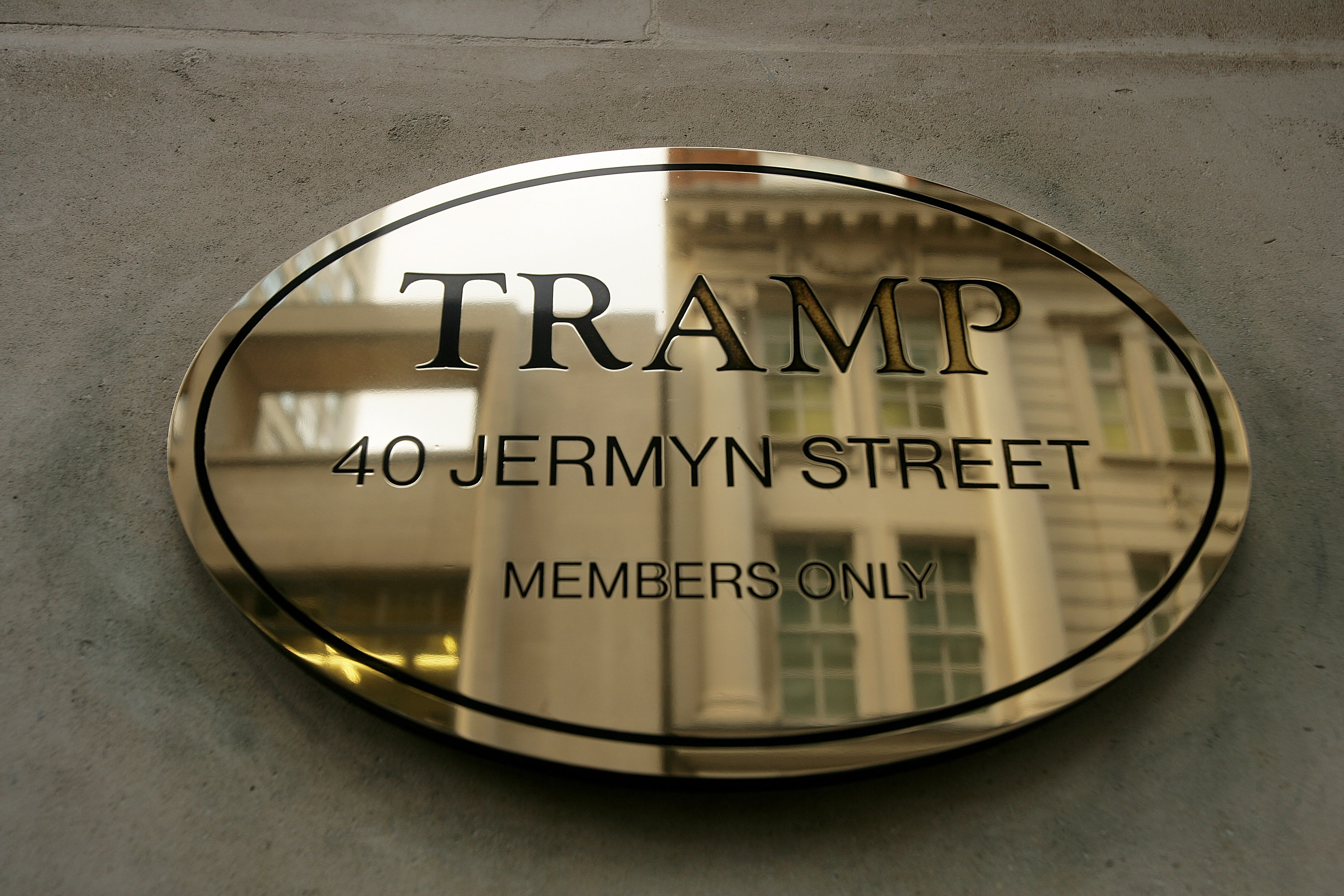 The venue name is displayed on the exterior of Tramp, Jermyn Street on April 4, 2007 in London, England.