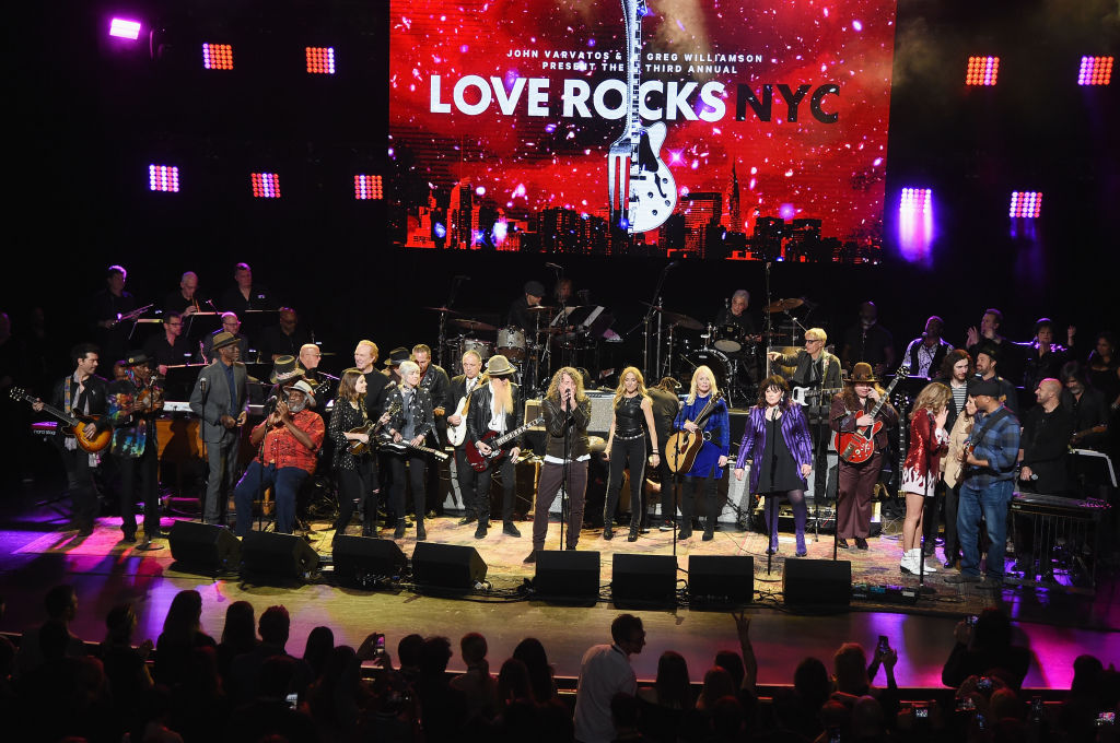 (L-R) Doyle Bramhall II, Cyril Neville, Keb Mo, Taj Mahal, Rebecca Lovell, Megan Lovell, Jimmie Vaughan, Billy Gibbons, Robert Plant, Sheryl Crow, Nancy Wilson, Ann Wilson, Marcus King, Grace Potter, Hozier, Karen Pearl, Bernie Wiliams and John Varvatos perform onstage during the Third Annual Love Rocks NYC Benefit Concert for God's Love We Deliver on March 07, 2019, in New York City. (Photo by Jamie McCarthy/Getty Images for God's Love We Deliver )