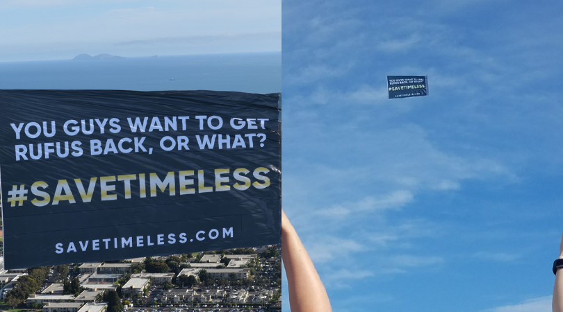 The Save Timeless campaign took to the skies at the San Diego Comic Con (Emily Schepker)