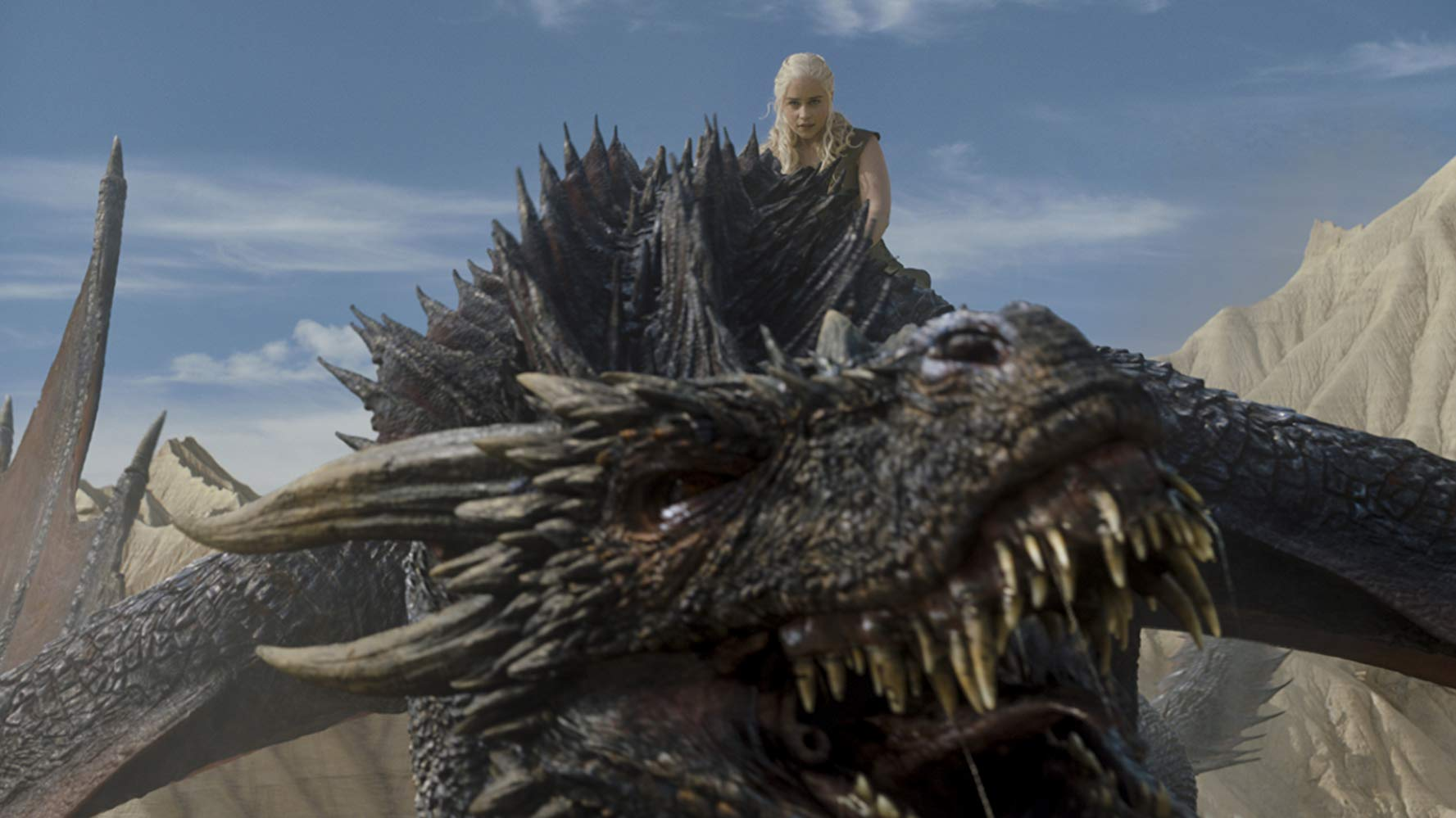 Emilia Clarke (Daenerys Targaryen) riding Drogon into battle in 'Game of Thrones'. (Source: IMDB)