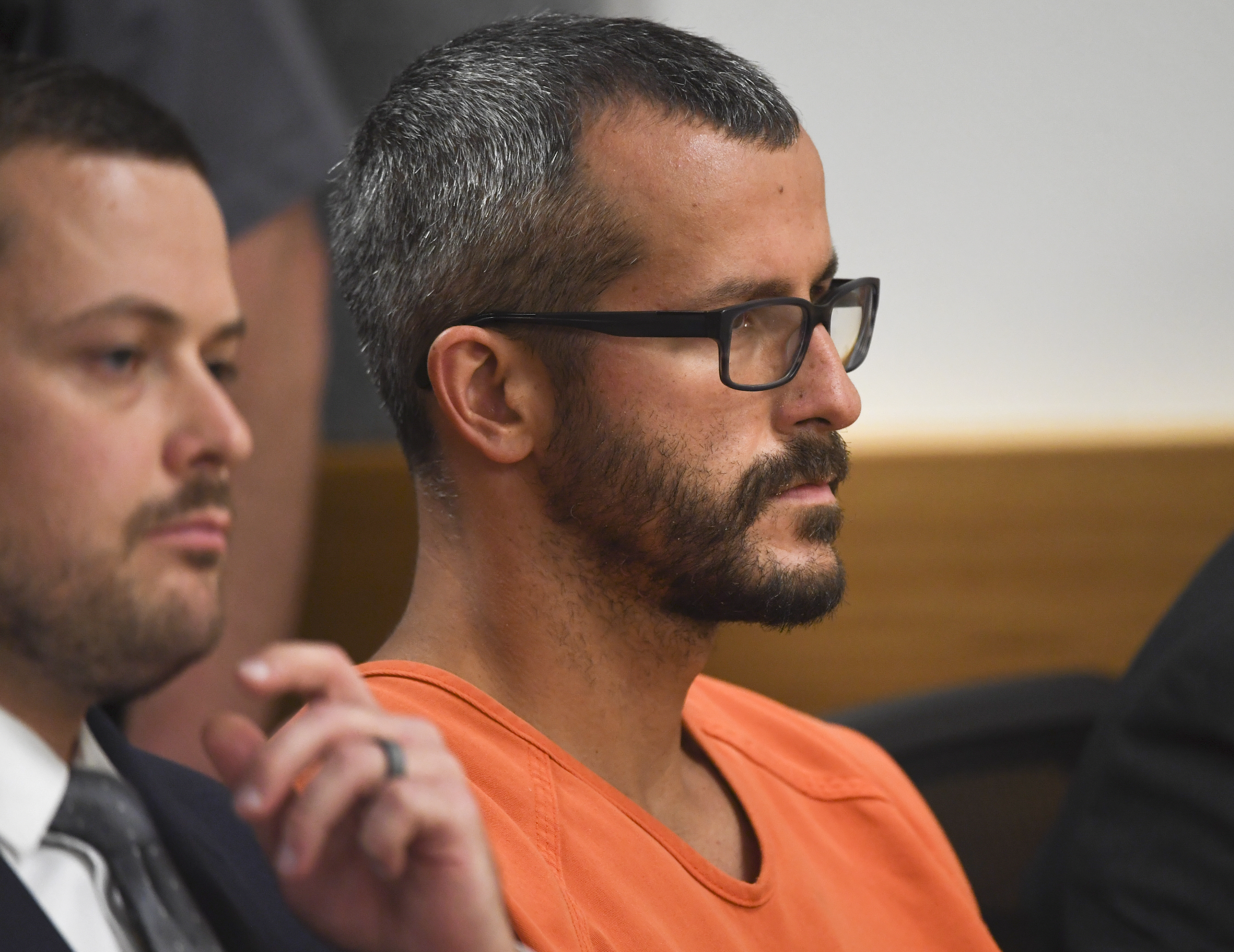Christopher Watts is in court for his arraignment hearing at the Weld County Courthouse on August 21, 2018, in Greeley, Colorado. Watts faces nine charges, including several counts of first-degree murder of his wife and his two young daughters.